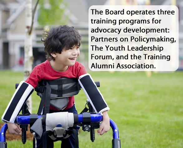 Hyperlinked photo with the caption: The Board operates three training programs for advocacy development: Partners on Policymaking, The Youth Leadership Forum, and the Training Alumni Association.